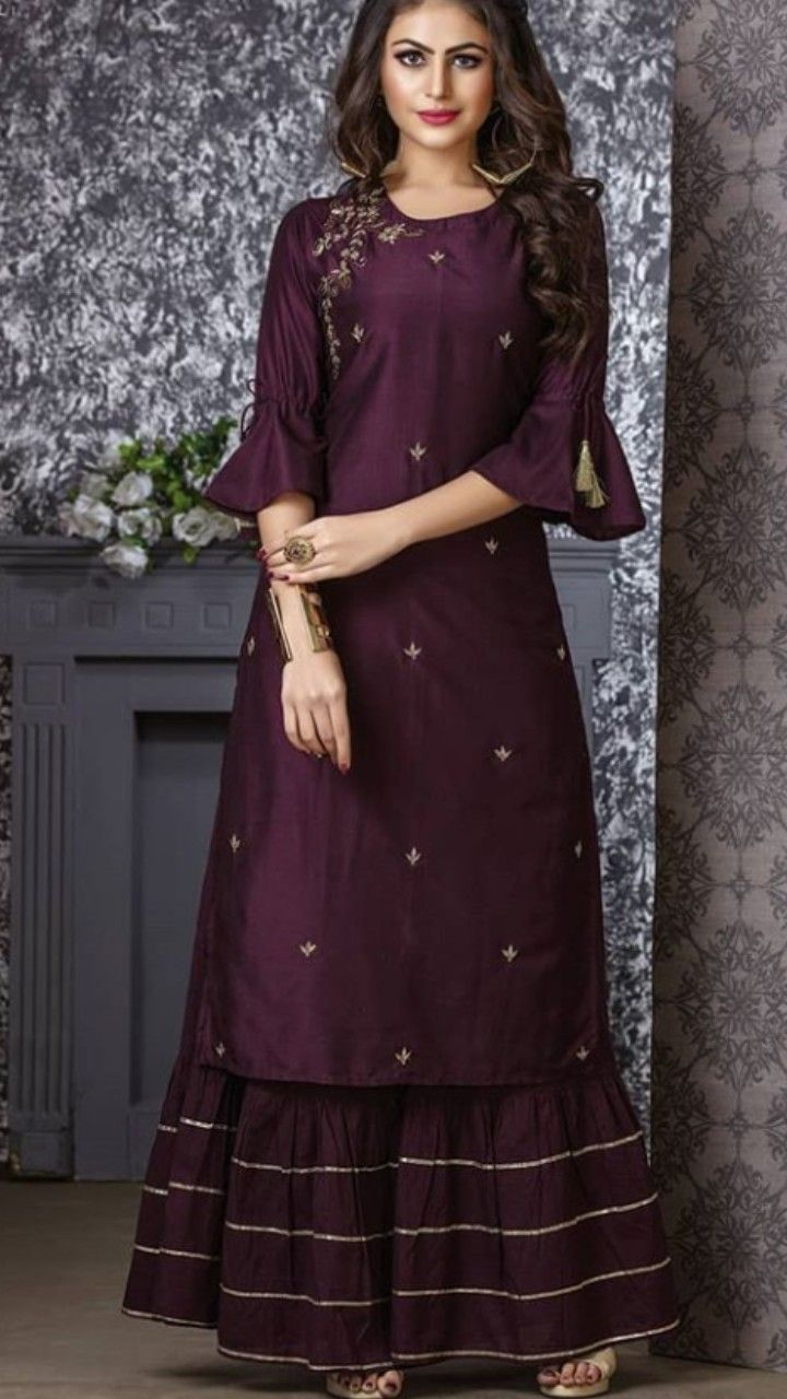 91431858092 Beautiful Kurti with sharara. Embellished with gota work and ...