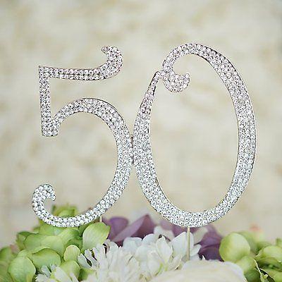 50th Birthday Script Crystal Rhinestone Cake Topper 50 Birthday Party Monogram