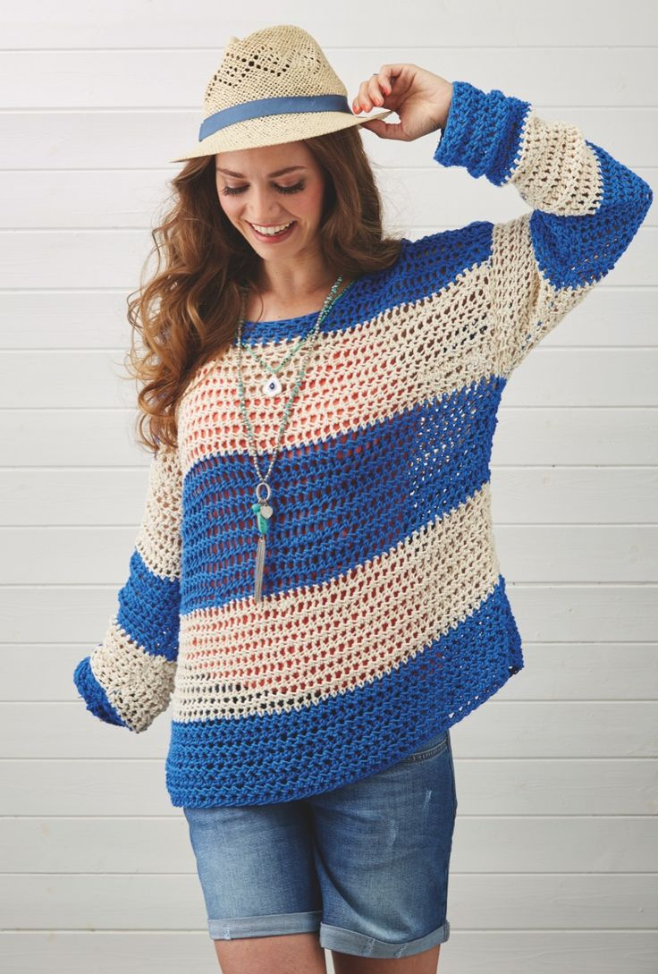 Slouchy jumpers are just made for summer. Sara Huntington's stripy design is in issue 46 of Simply Crochet
