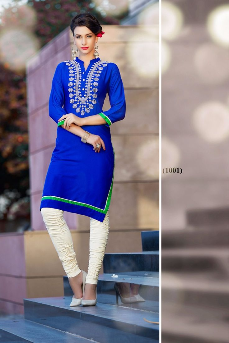 Blue simple Casual Wear Kurti With Work