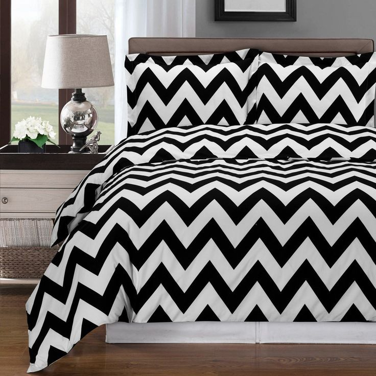 Black and White Chevron Duvet Cover Set