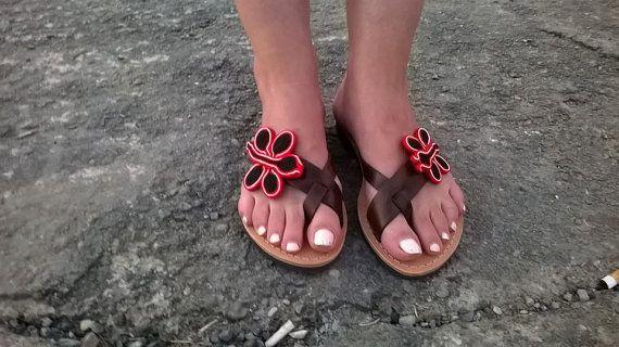 Greek sandals Decorated sandals Women's sandals by sandalstriliza