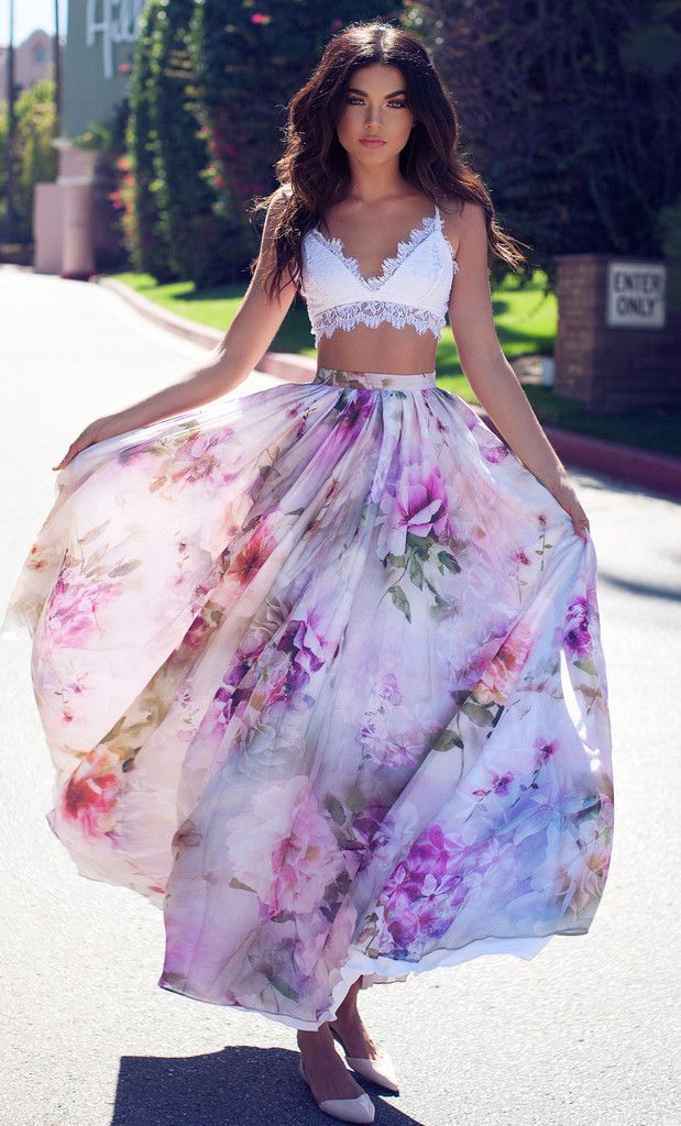 Floral flowy skirt with a lace bandeau perfect for coachella matched with a floral head piece