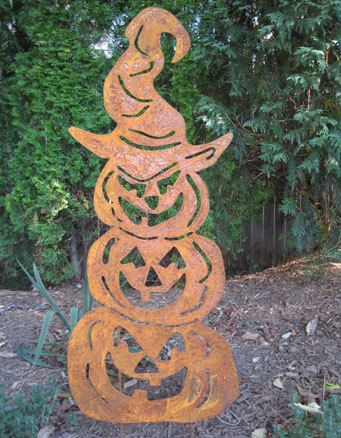 three stacked pumpkins garden stake halloween decoration jack o lantern scary metal outdoor lawn ornament giant large - Metal Halloween Decorations