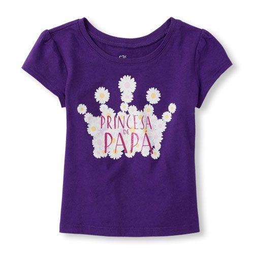 Place Shops Toddler Short Sleeve 'Princesa De Papa' Graphic Tee - Purple T-Shirt - The Children's Place