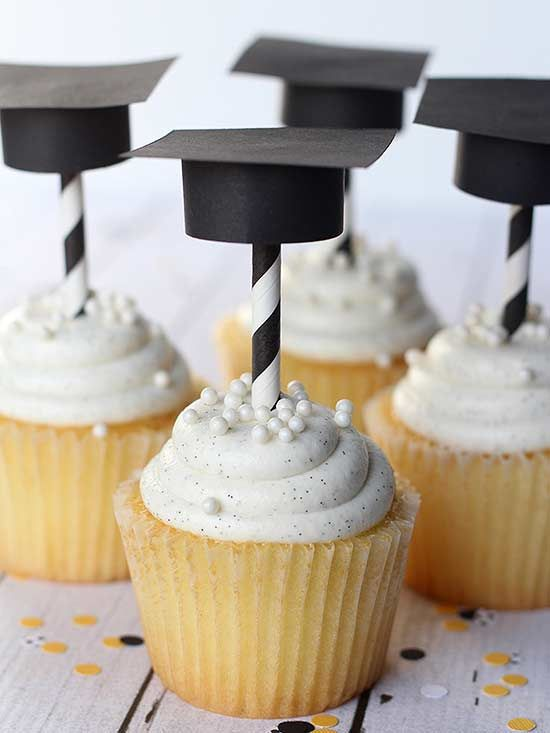 Punch up a plain-Jane cupcake with a DIY topper that will easily decorate the dessert table at your graduate's party. Kristyn of Lil Luna used black construction paper and black-and-white striped straws, but you can personalize these Graduation Hat Toppers and Straws with any color. Whether you have a kindergartner or high school senior graduating this spring, they're sure to love this sweet addition!/