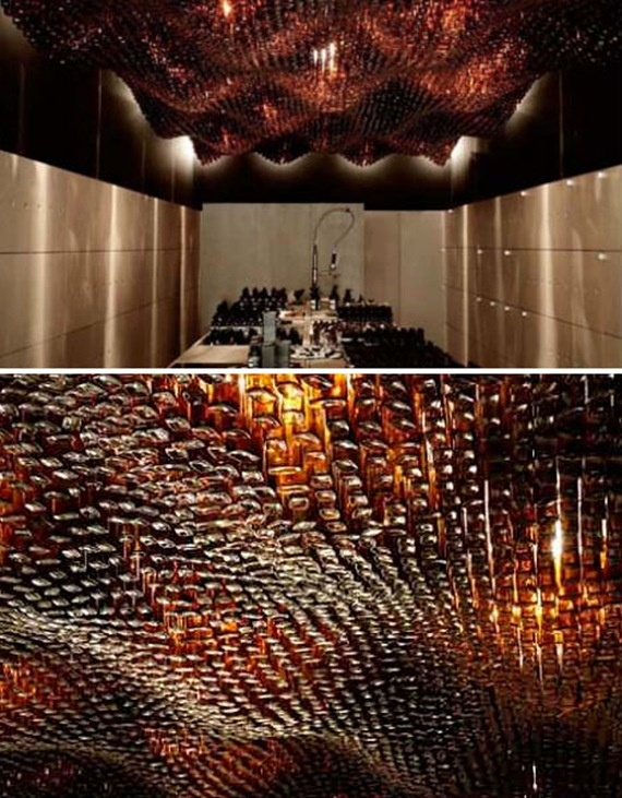 Glass bottle ceiling