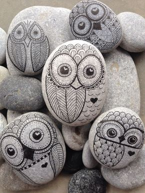 Owl hand painted rock from The Beach – Toronto