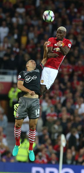 Paul Pogba of Manchester United in action with Oriol Romeu of Southampton…