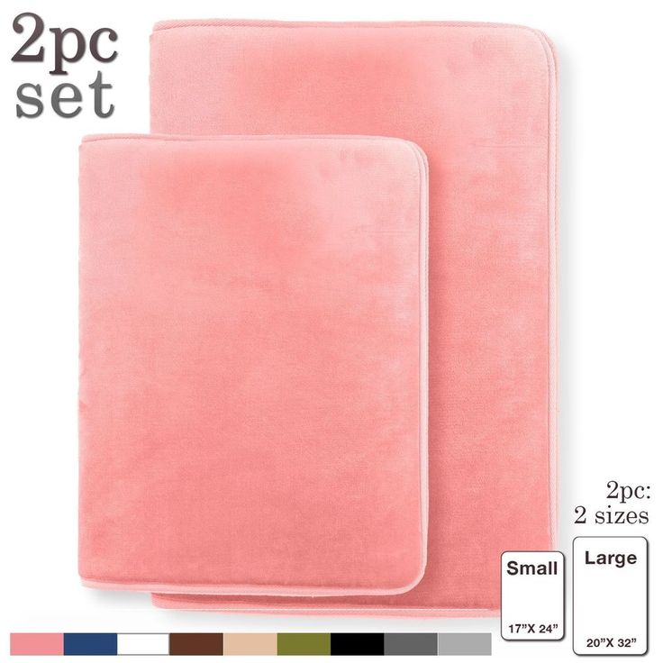 2 Piece Coral Pink Bath Mats Memory Foam Bath Rugs Small 17X24 Large 20X32