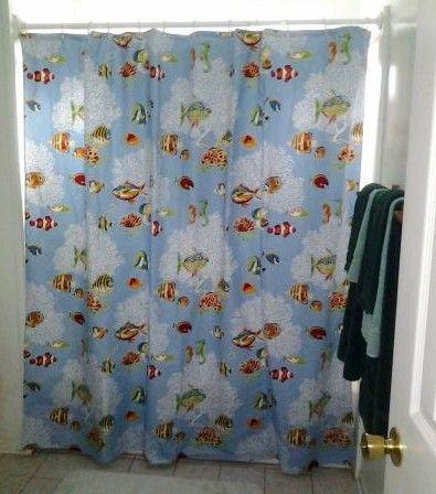 coastal Shower curtain Go with the flow Ocean blue | Shower ...