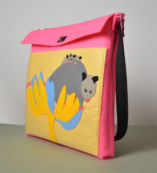 The Pointing Hound presents: OPOSSUMS ON BANANA TREE pink felt bag available on:  https://www.etsy.com/shop/THEPOINTINGHOUND?ref=l2-shopheader-name