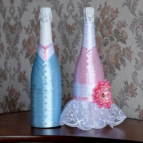 Услуга: Декор на бутылках атласными лентами. «Свадебное шампанское» в дар (Москва). Дарудар