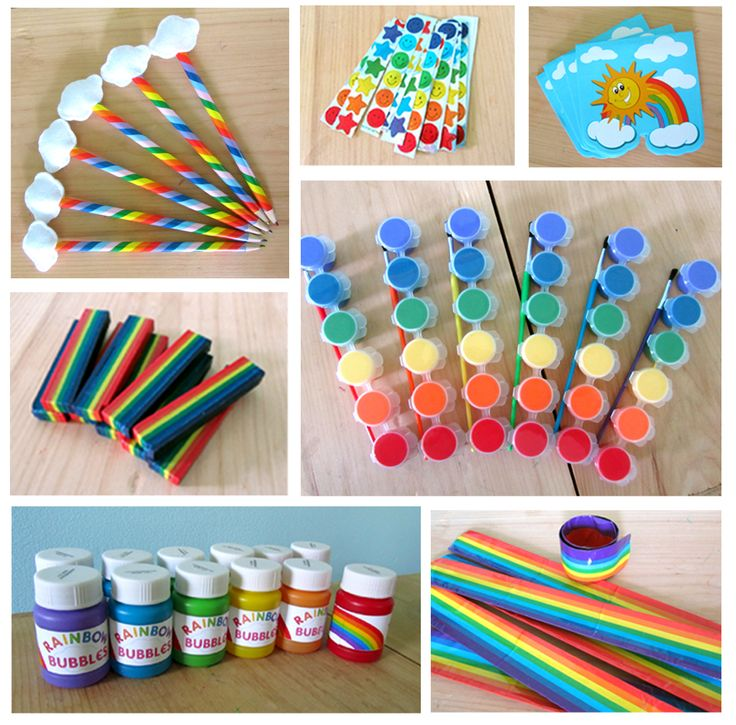 rainbow birthday party decore | Here's a peek at all of the fun rainbow goodies inside the bags:
