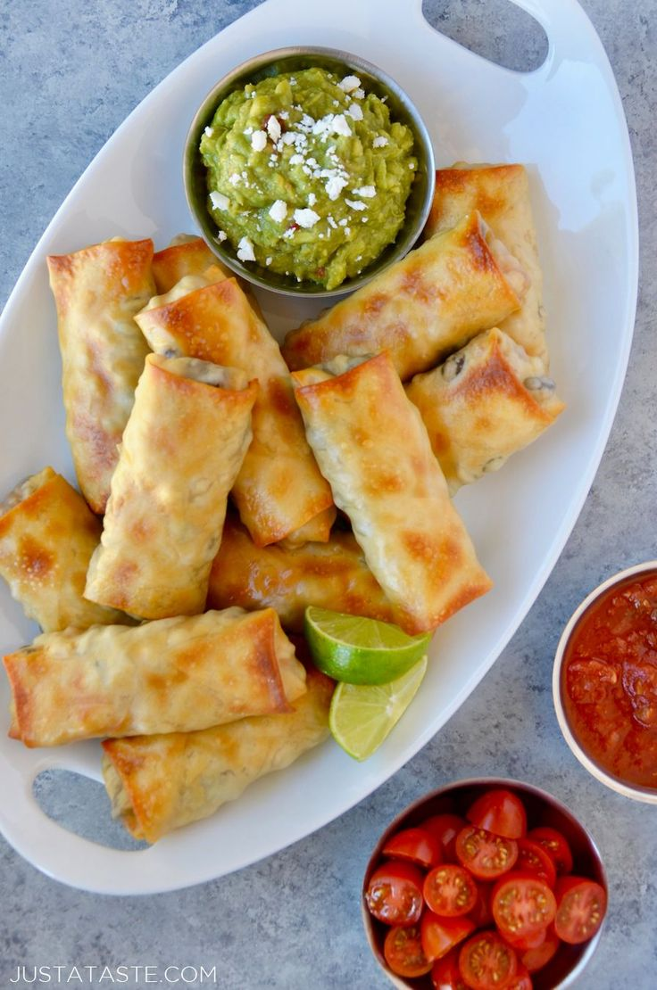 Toss the takeout menus in favor of baked Southwestern egg rolls with chicken, black beans, corn and cheese, plus guacamole for dipping!