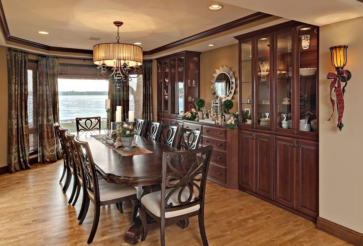Choosing the Perfect Drum Chandelier for Dining Room: Traditional Dining Room Plus Art Deco Mirror And Built In Buffet Also Built In Dining Cabinets With Drum Chandelier For Formal Dining Room Plus Recessed Lighting Also Sconce With Wood Dining Table