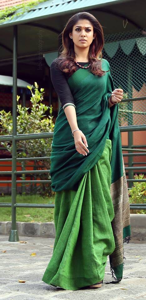 Nayanthara Wearing a Beautiful Woven Saree in Shades of Green