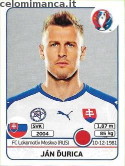 UEFA EURO 2016™ Official Sticker Album: Fronte Figurina n. 214 Ján Ďurica