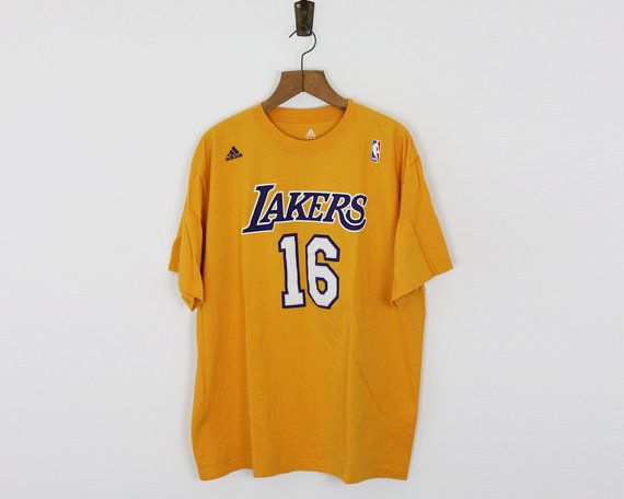 Los Angeles Lakers T shirt / Gasol Lakers tee / NBA cotton T shirt / size L-XL