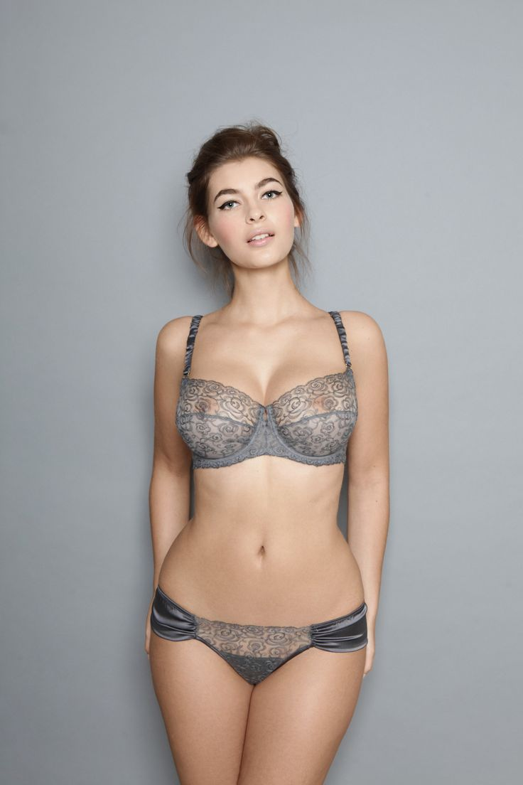 Adina Reay Ava Balcony Bra and Thong in Graphite