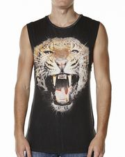 STUSSY SCREAMING LEOPARD MUSCLE TANK - PIGMENT BLACK on http://www.surfstitch.com