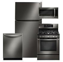 """Large Capacity 33"""" Wide, Top Freezer Refrigerator, Gas Single Oven Range with EasyClean, Over-the-Range Microwave Oven,"""
