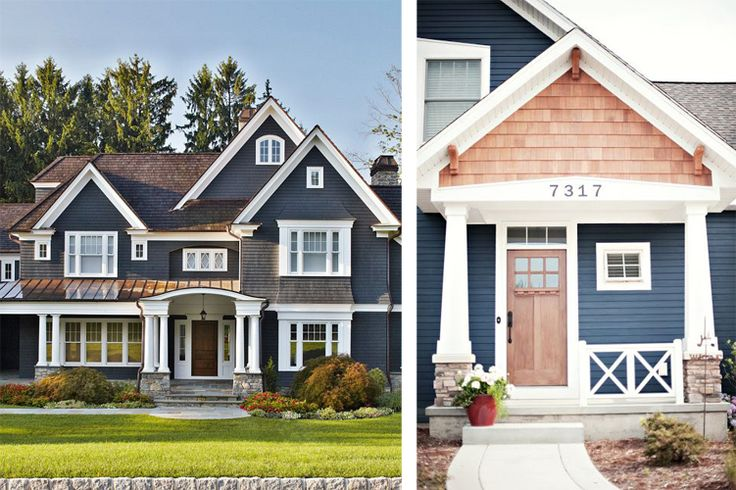 Gray Siding With Navy Shutters