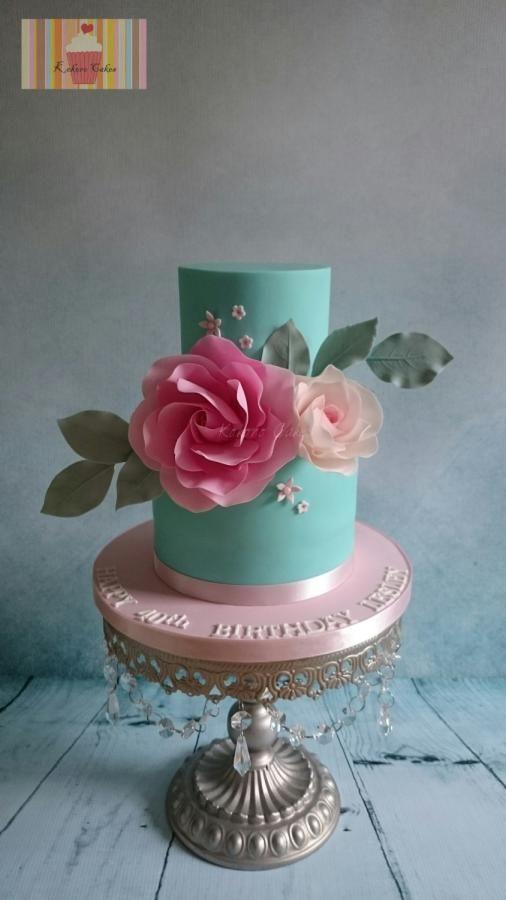 40th Birthday  - Cake by Kokoro Cakes by Kyoko Grussu