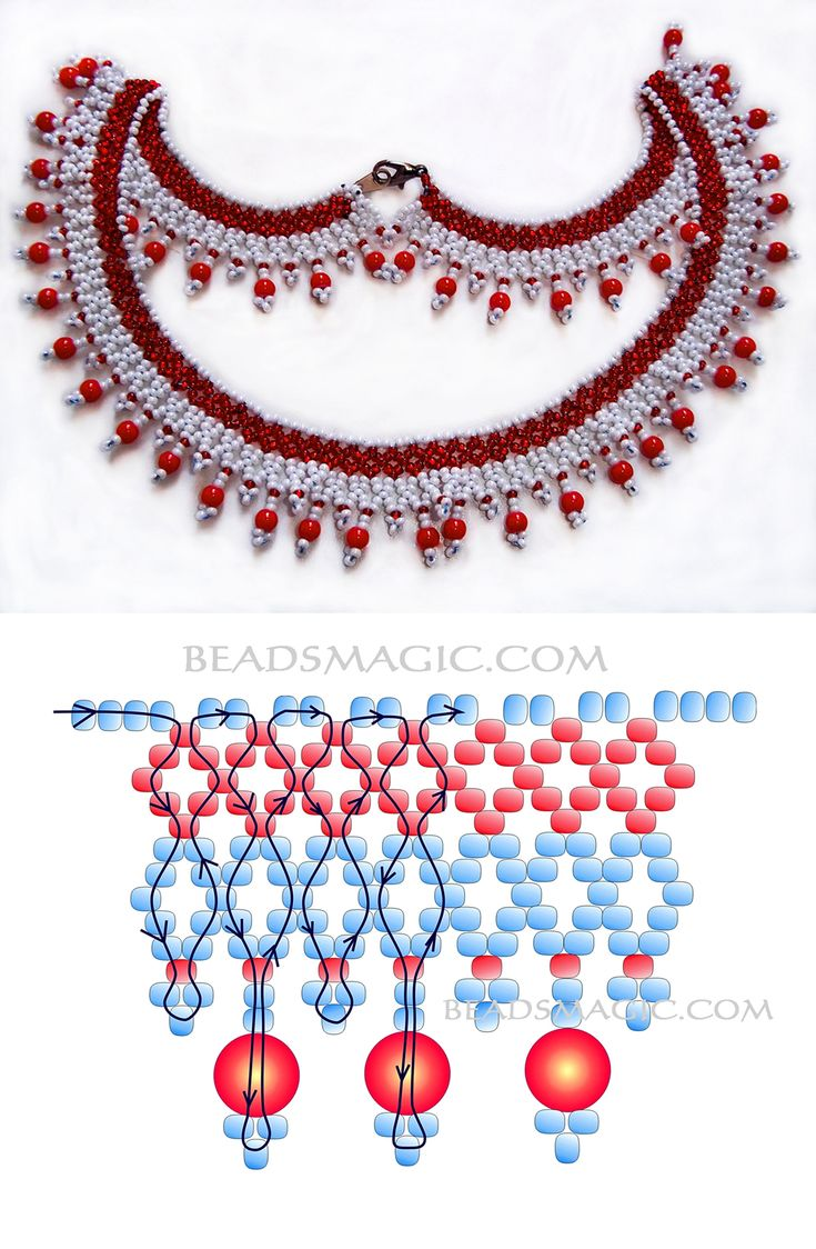 Free pattern for beaded necklace Сranberries seed beads 11/0 round beads 4 – 6 mm