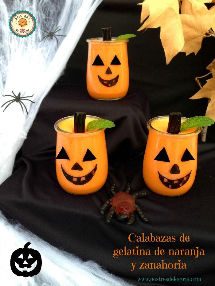 Calabazas de gelatina de naranja y zanahoria para Halloween. Halloween desserts for children.