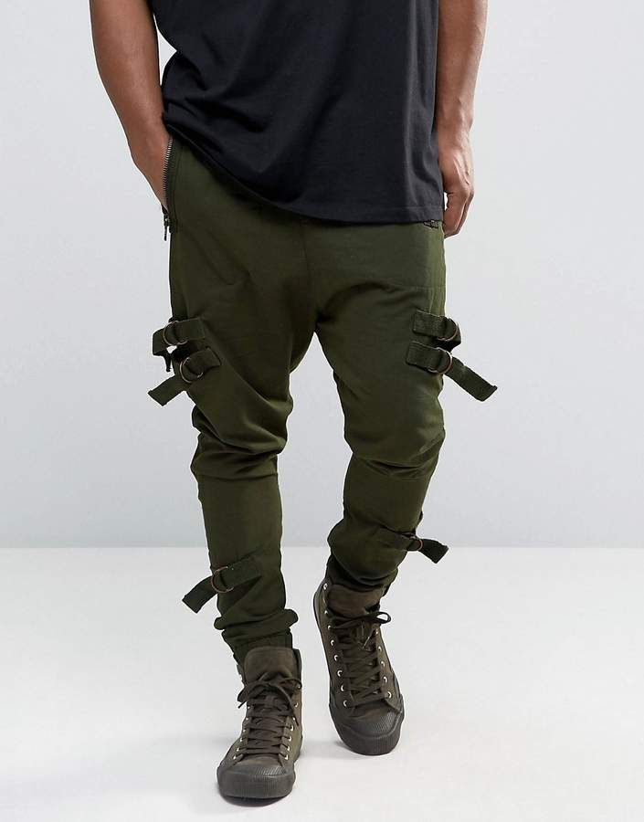 4af54d6d6f5d ASOS Drop Crotch Joggers With Taping In Dark Khaki