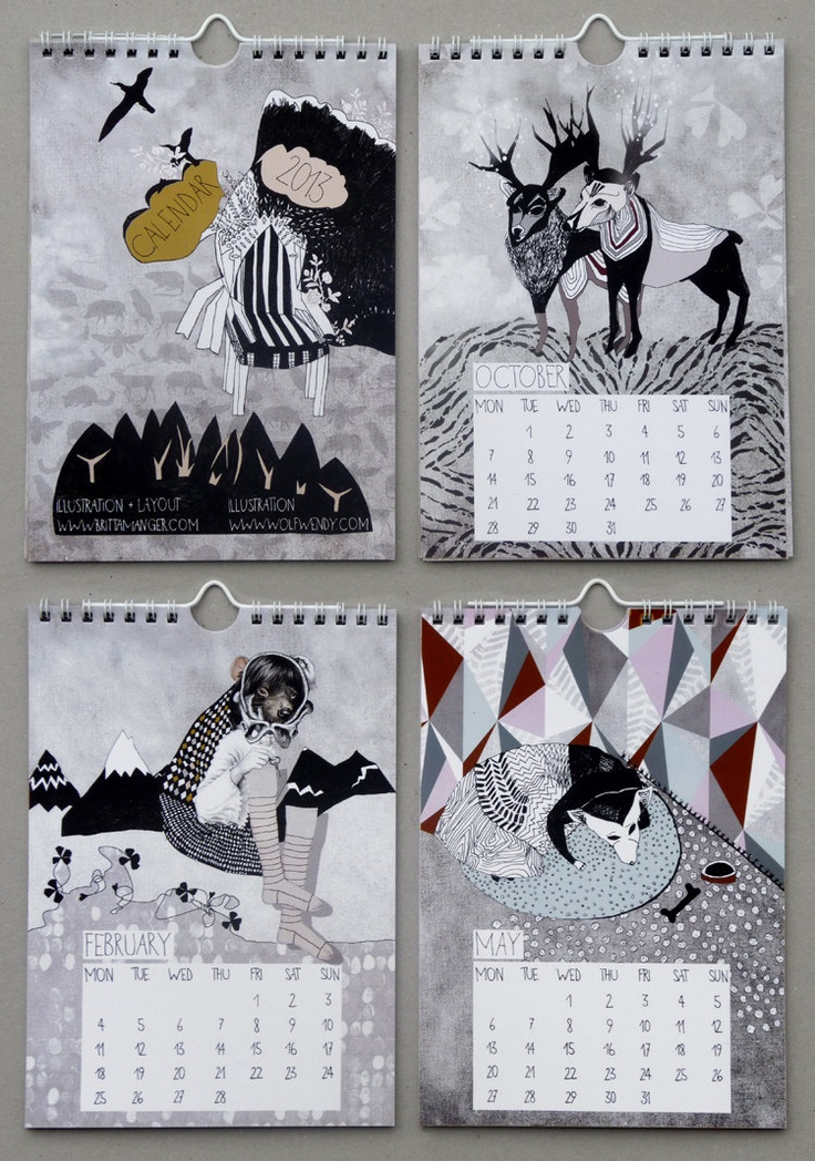Illustrated wall calendar for 2013, DIN A 5, limited, matte coated 250g paper, spiral binding. €14.90, via Etsy.