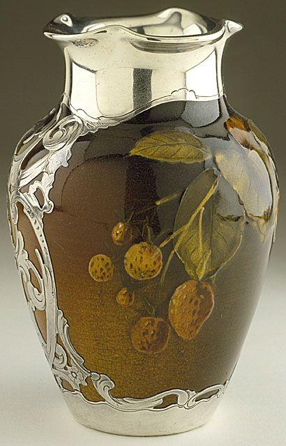 Rookwood Pottery Art Nouveau Vase with silver encasement