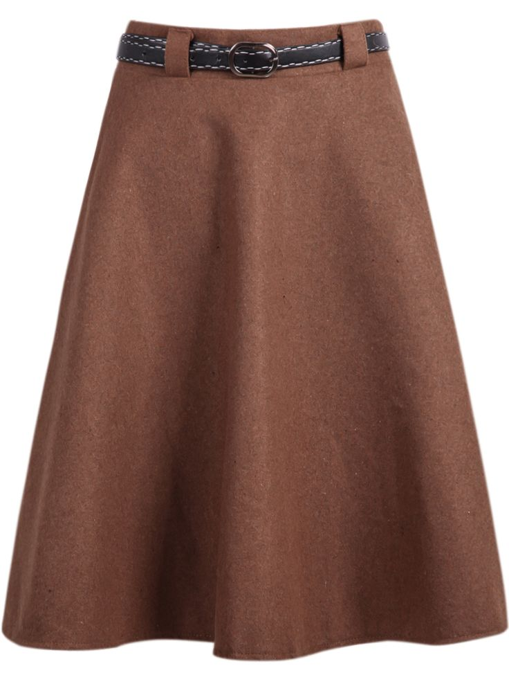 Khaki Simple Design Woolen Midi Skirt $17.67 AT vintagedancer.com