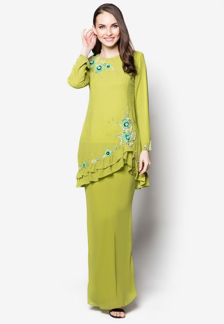 Era Maya Floral Embroidered Baju Kurung Moden With Ruffles