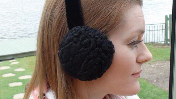 Buy online on Etsy, FREE SHIPPING! Black Persian sheep Earmuffs, for Women or men.