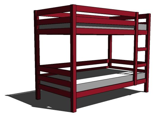 We have bunks likes these from IKEA. Ana's version is sturdier, cheaper, and breaks down for moving easier. We might just have to build them.