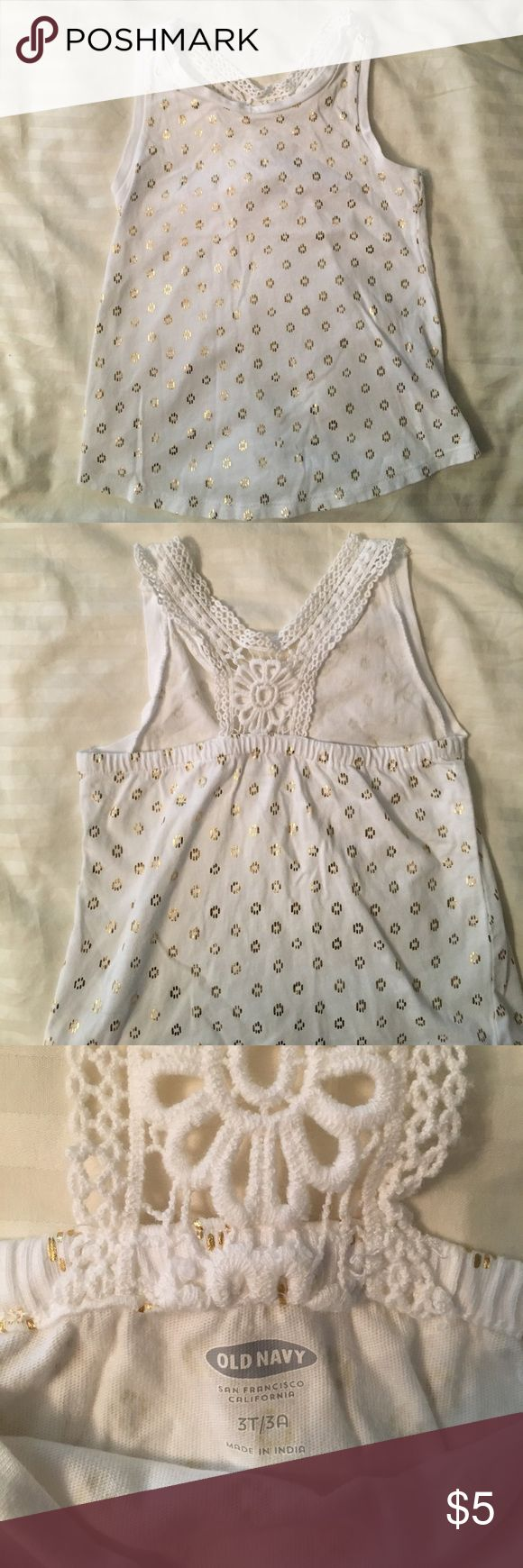 Lacey Razorback Tank for Toddler Girl 3T Size 3T tank for girl from Old Navy. White with gold spots and Lace back. In great new like condition. Worn a few times. Old Navy Shirts & Tops Tank Tops