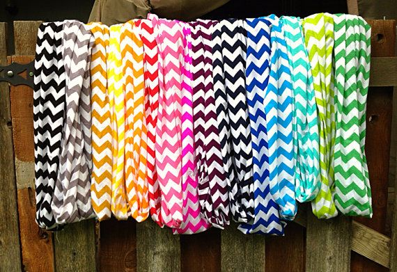 Chevron Infinity Scarves Choose Your Color Wide by Phatcatpatch