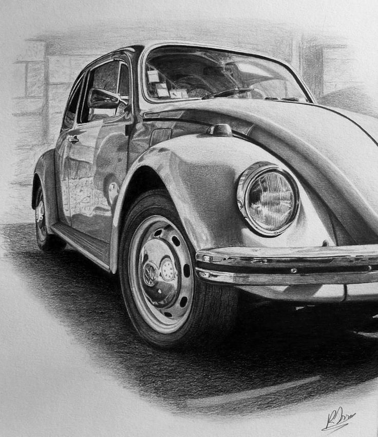 vw beetle drawing, full graphite