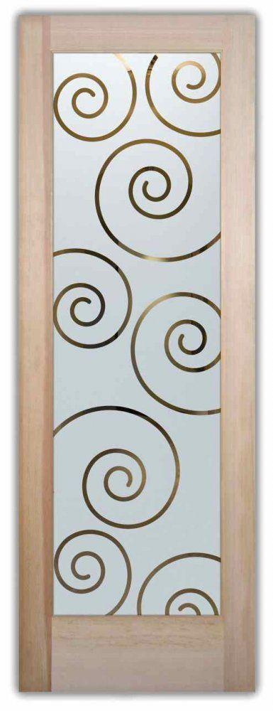 Glass front doors sandblasted glass art deco design circular patterns flushing curling iron bars swirls sans