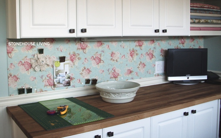 but metal sheeting covered in oilcloth for a magnetic backsplash