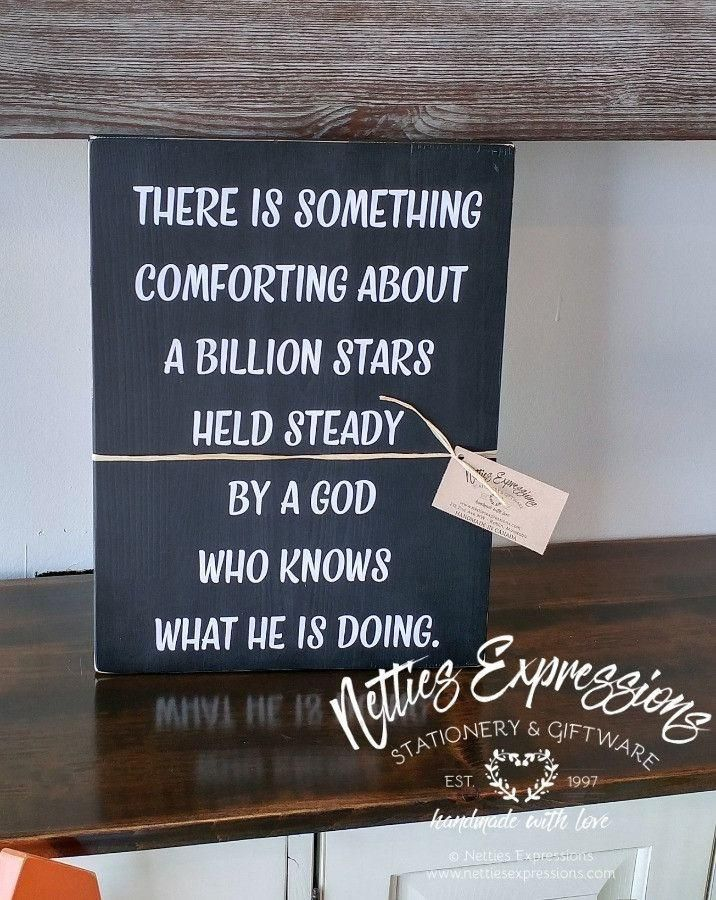 There is Something Comforting About a Billion Stars 12x16 Wood Sign