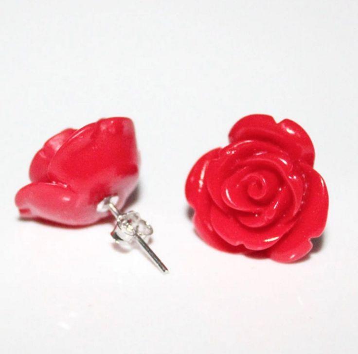 Resin Rose 925g Earrings