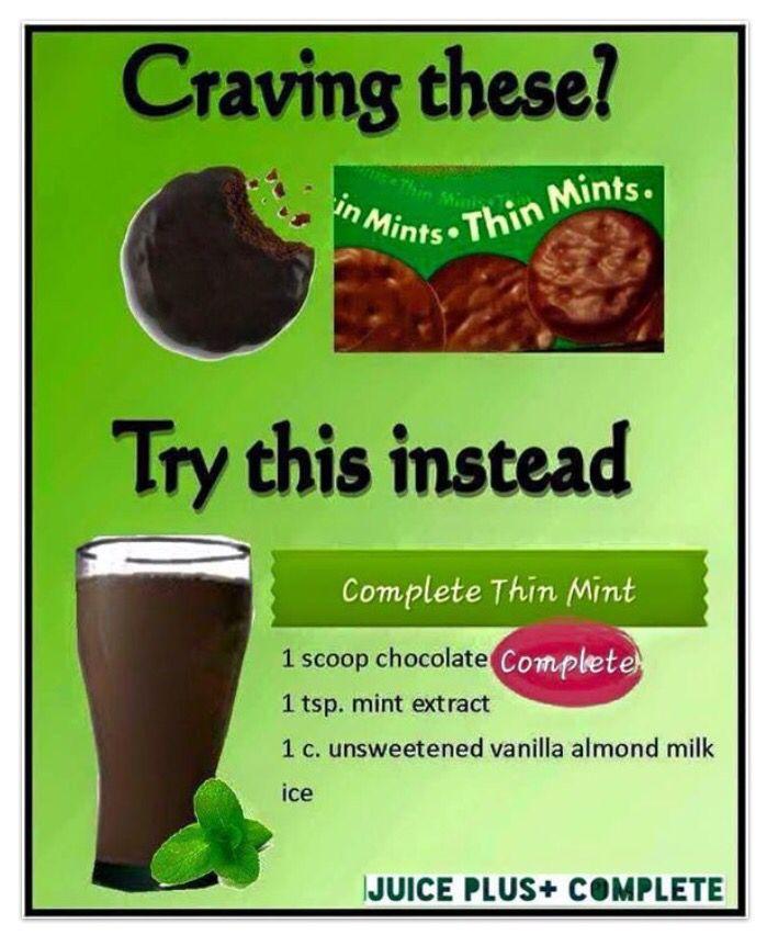 Thin Mint shake recipe with Juice Plus Complete! Kick that craving!! #stopcravings #onesimplechange http://alisefski.juiceplus.com