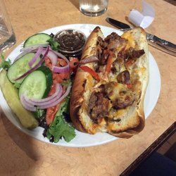 Taps Brewing Company - Sirloin steak and cheese sandwich with side salad. AMAZING! - Niagara Falls, ON, Canada