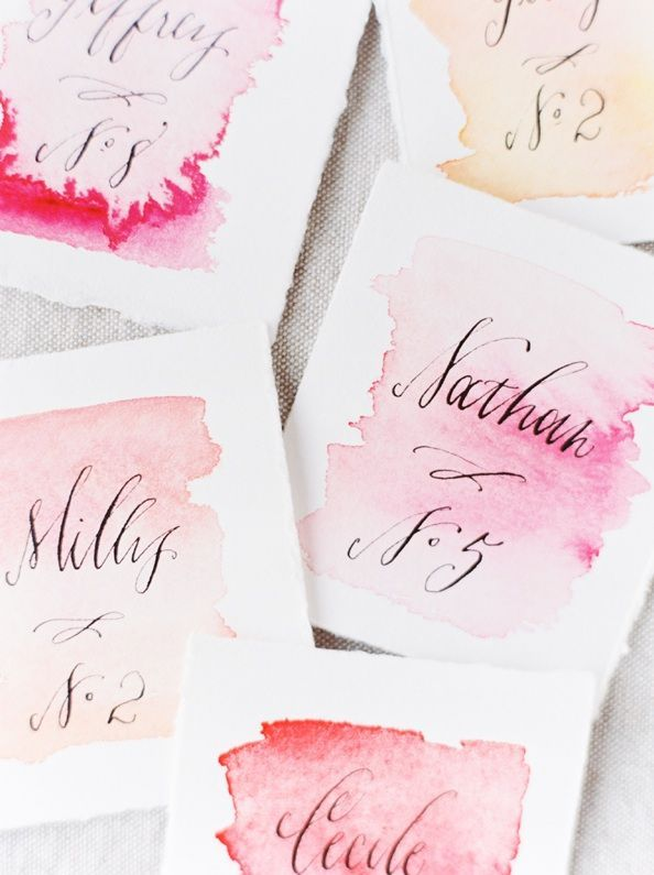 "DIY Wedding Watercolor Escort Cards via oncewed.com - only I want to make a sweet little painting for our bathroom saying ""wash your hands"" or something to that effect. Maybe I'll have my son help me."