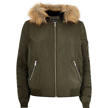 Khaki faux fur hooded bomber jacket €77.00