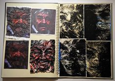 Printing onto Tyvek sheet and then applying heat to melt - superb A Level sketchbook page by Lucy Feng