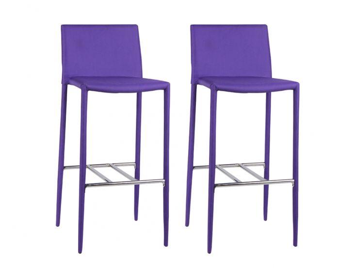 Lot de 2 tabourets de bar ALFREDO - Tissu - Violet